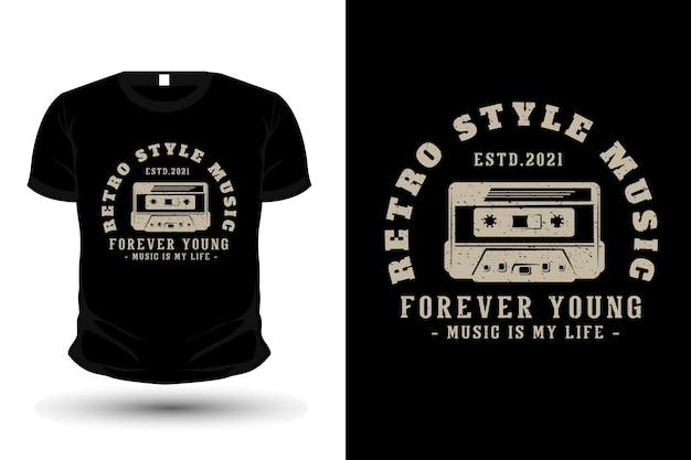 Musik-typografie-t-shirt-design im retro-stil mit kassette