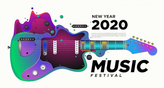 Musik-und gitarren-festival-illustrations-design für 2020 neues jahr-party-ereignis.
