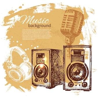 Musik-vintage-hintergrund. handgezeichnete abbildung. splash blob retro-design mit lautsprechern
