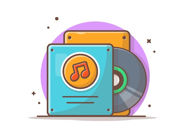 Musik-vinyl-album mit tune und note of music. vinylmusik-rekordweinlese-weiß lokalisiert