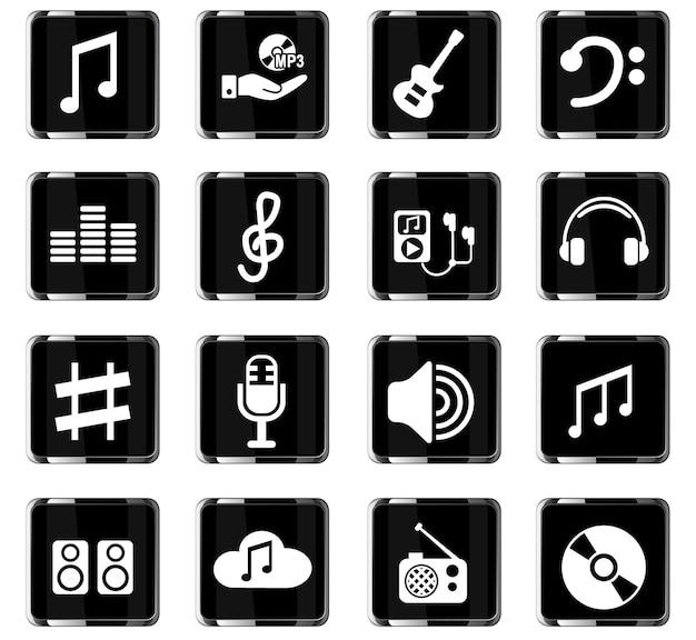 Musik-web-icons für das design der benutzeroberfläche