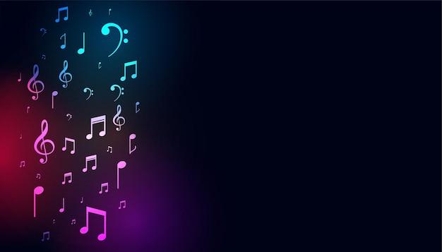 Musikalische bunte noten auf dunklem hintergrund