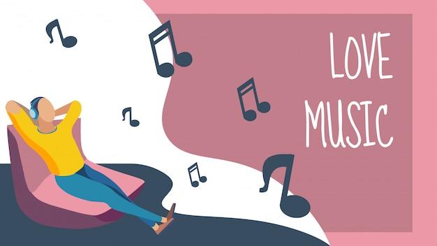 Musikalische entspannung break flat banner
