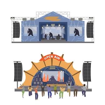 Musikalische open air festival bühnen mit menschen tanzen. flache illustration. auf weiß isoliert.