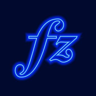 Musikalische zeichen neon-vektor-icons setzen musikalischen notenschlüssel nach unten schlagen sforzando forte klavierzeichen vektor-illust...