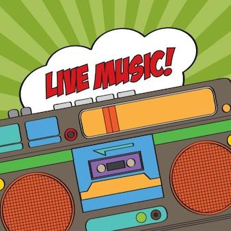 Musikalischen hintergrund mit retro-blase rede