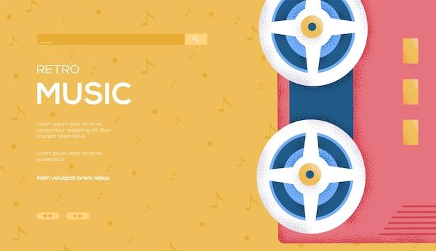 Musikalischer rollenkonzept-flyer, web-banner, ui-header, website betreten. .