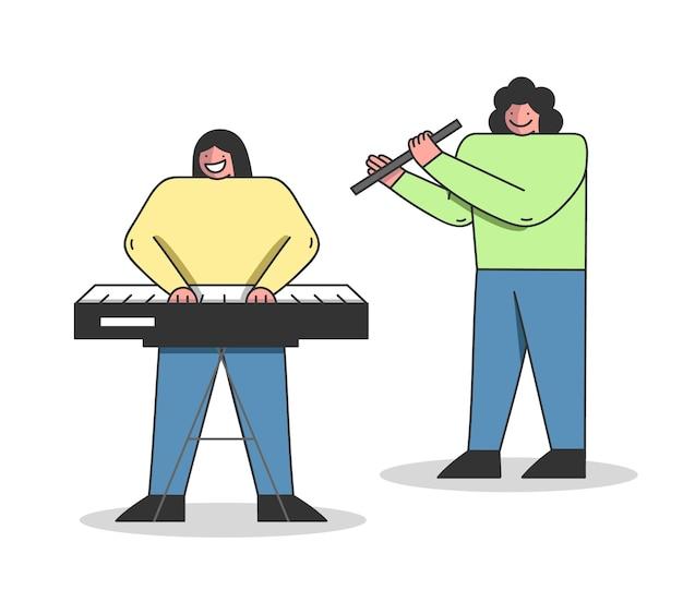Musikalisches bildungskonzept. die leute lernen, verschiedene musikinstrumente zu spielen.