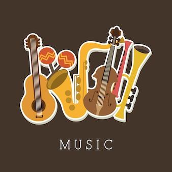 Musikalisches design über braune hintergrundvektorillustration