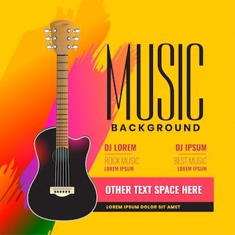 Musikalisches fliegerplakat mit realistischer akustikgitarre