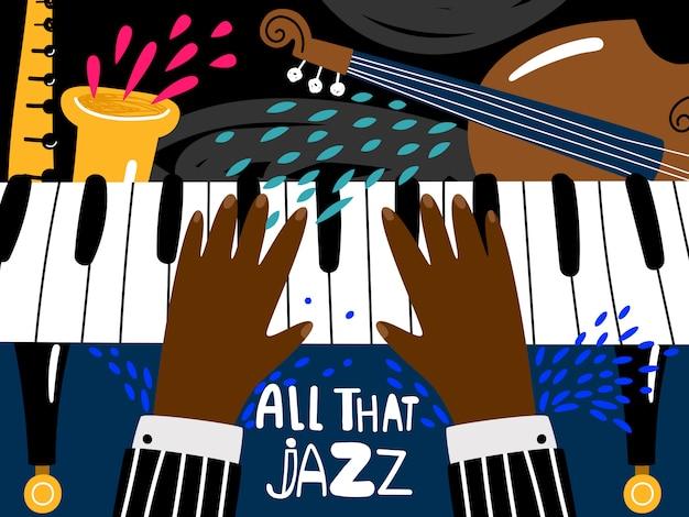 Musikalisches kunstfestival des blues- und jazzrhythmus, vektorweinlesemusikband-konzertplakatschablone in der modernen art