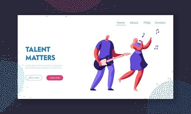 Musikband-duett auf der bühne. young rock guitar player begleiten sie singing girl während der entertainment- oder talent show. website landing page