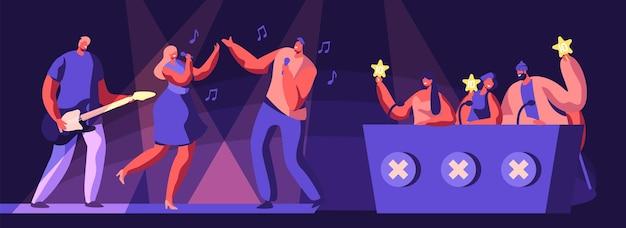 Musikband nehmen an talents show teil. künstler-charaktere singen und spielen gitarre auf der bühne vor richtern, die goldene sterne in händen halten cartoon-flache vektor-illustration. flache vektorillustration der karikatur