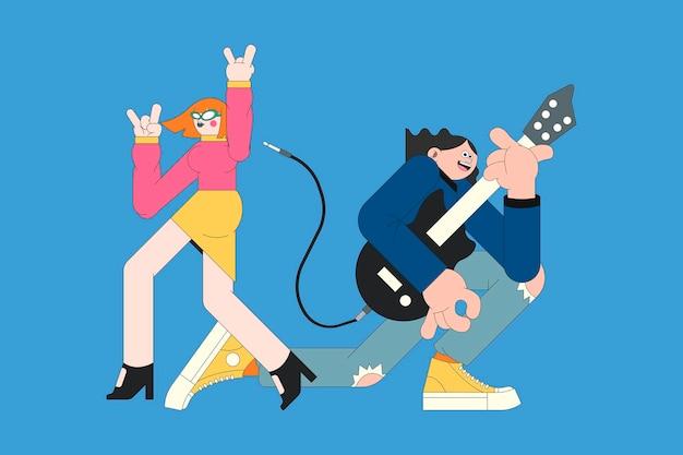 Musikbandcharaktere auf blauem hintergrundvektor