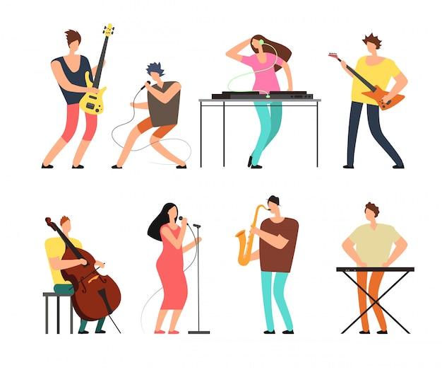 Musikbandmusiker mit den musikinstrumenten, die musik auf dem stadiumsvektorsatz lokalisiert spielen