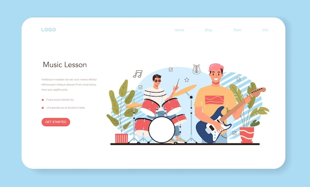 Musikclub- oder klassenwebbanner oder landingpage-schüler lernen