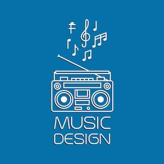Musikdesign mit magnetischem kassettenrekorder
