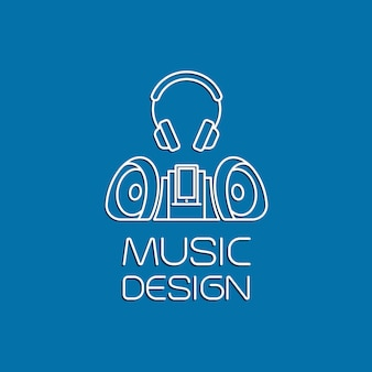 Musikdesign mit recorder und ohrhörer
