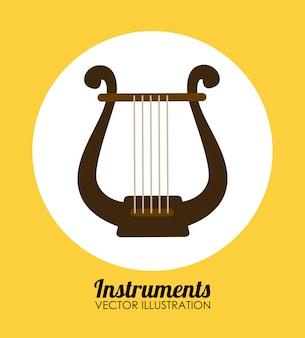 Musikdesign über gelbem hintergrund