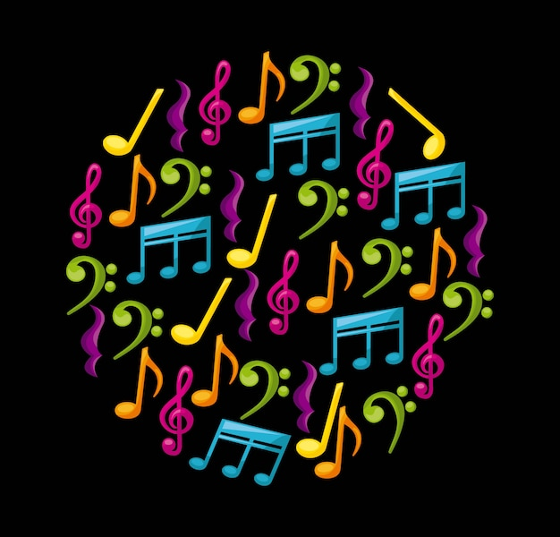 Musikdesign über schwarzer hintergrundvektorillustration