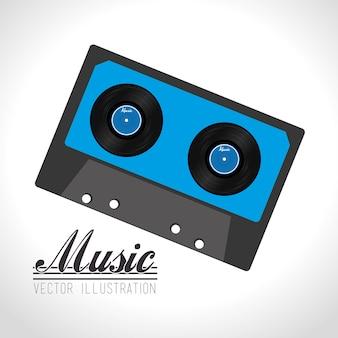 Musikdesign über weißer hintergrundvektorillustration