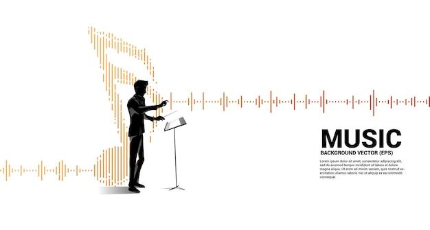 Musikdirigent mit equalizer-welle als musiknote.