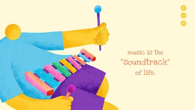 Musiker-banner-vorlage mit inspirierendem musikzitat