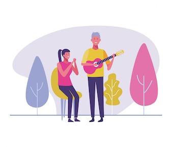 Musiker, der Gitarrenkarikatur spielt
