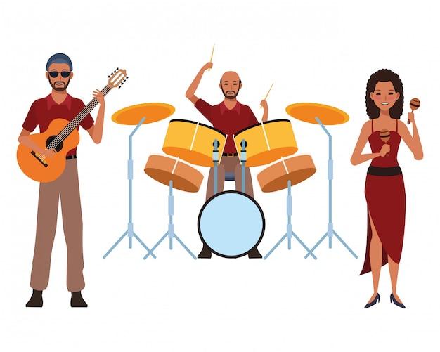 Musiker, der gitarrentrommeln und maracas spielt