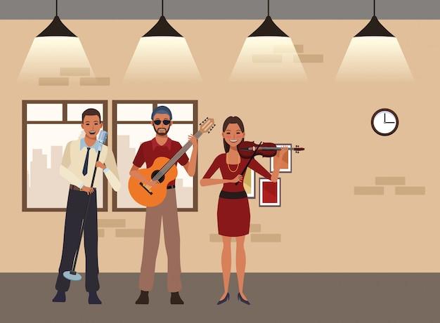 Musiker, der gitarrenvioline spielt und singt