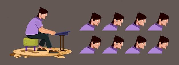 Musiker, der im stuhl sitzt und tastatur spielt