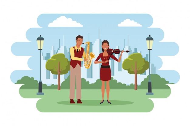 Musiker, der saxophon und violine spielt