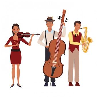 Musiker, der saxophonbass und -violine spielt