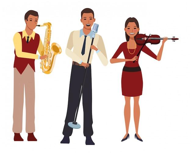 Musiker, der saxophonvioline spielt und singt