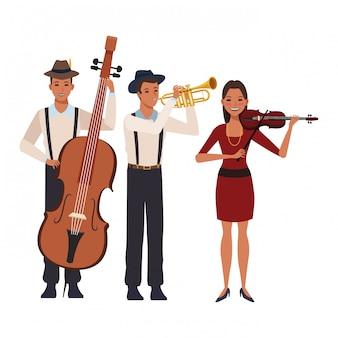 Musiker, der trompete-baß und violine spielt