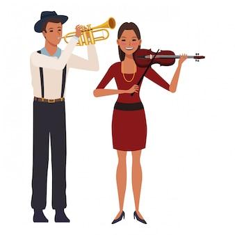 Musiker, der trompete und violine spielt