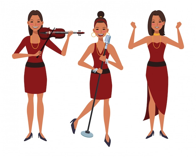 Musiker, der violine spielt und singt und tanzt