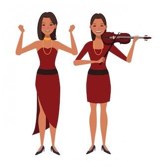 Musiker, der violine spielt und tanzt