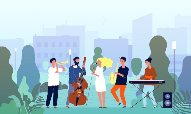 Musiker im garten. musikband, die show in parksängern und musikspielerbäumen im freienkonzeptfiguren durchführt. musiker-karikaturkünstler, musikalisches saxophon in der parkillustration