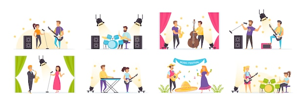 Musiker spielen mit menschencharakteren in verschiedenen szenen und situationen.
