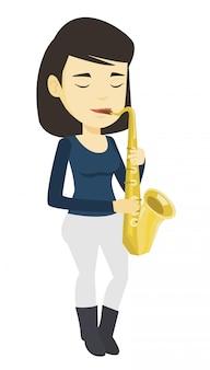 Musiker spielt auf saxophon.