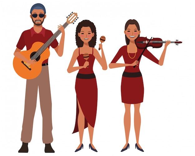 Musiker spielt gitarre, violine und maracas