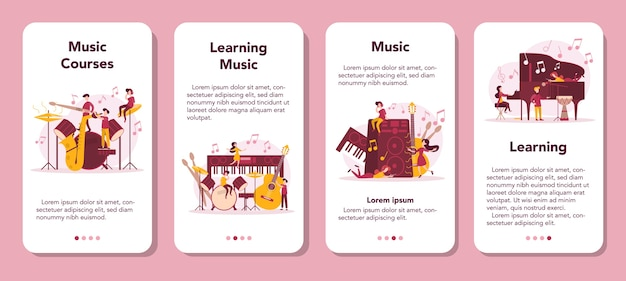 Musiker und musikkurs mobile application banner set