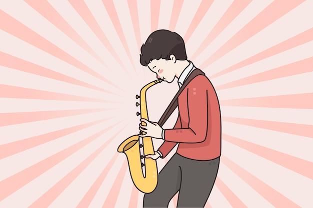 Musiker und saxophon spielendes konzept