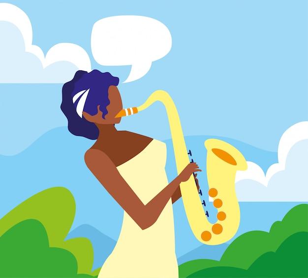 Musikerfrauensaxophon, das musik spielt