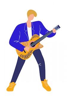 Musikermann, der gitarre, lokalisierte flache gekritzelvektorillustration spielt