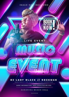 Musikevent oder partyplakat mit bunter farbverlauf