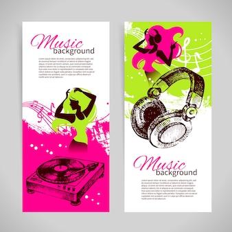 Musikfahnen mit hand gezeichneter illustration und tanzmädchenschattenbild. splash blob retro-design