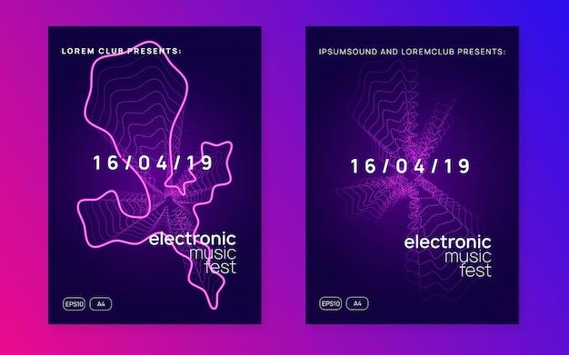 Musikfest. dynamisch fließende form und linie. helles diskothek-banner-set. neon-flyer zum musikfest. elektro-tanz. elektronischer trance-sound. techno-dj-party. plakat zur vereinsveranstaltung.