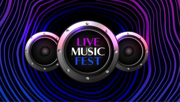 Musikfest hintergrund mit lautsprechern Kostenlosen Vektoren